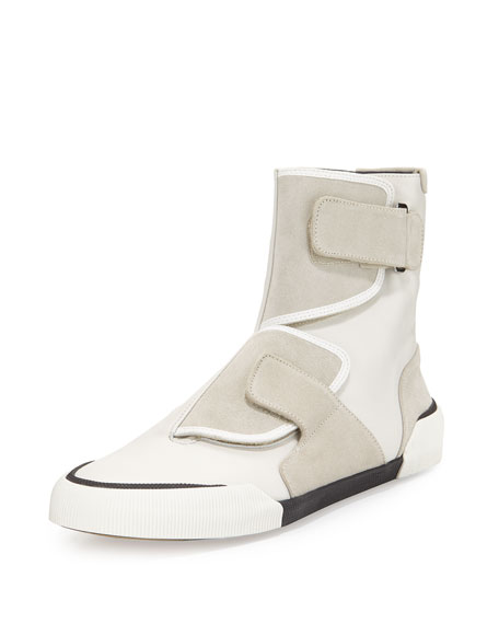 Lanvin Leather-Suede Strappy High-Top Sneaker, Light Gray