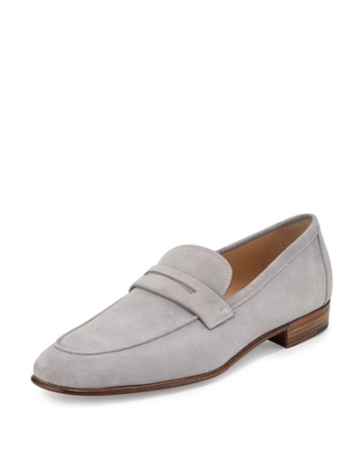 Suede Penny Loafer, Gray