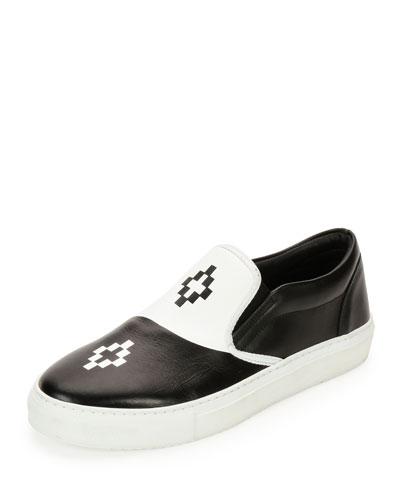 Tao Bicolor Leather Slip-On Sneaker, Black/White