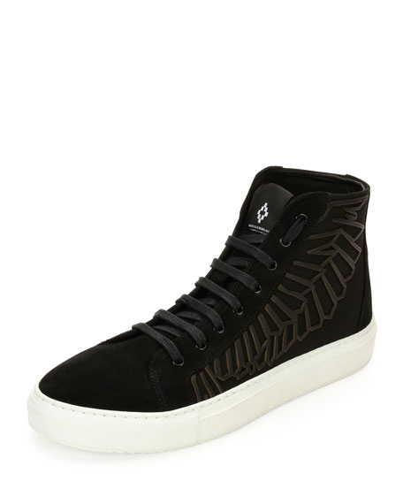 Marcelo Burlon Maipu Textured High-Top Sneaker, Black/White