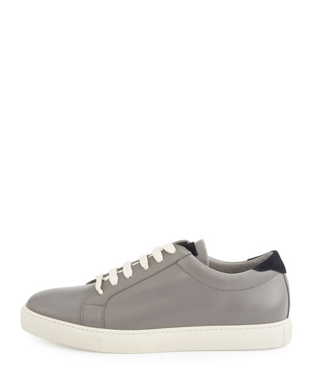 Men's Leather Low-Top Sneakers, Gray