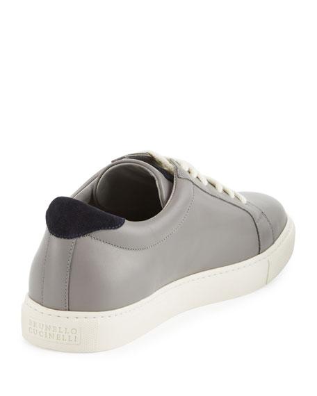 Men's Leather Low-Top Sneaker, Gray