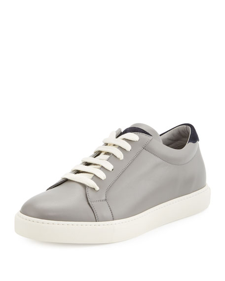 Brunello Cucinelli Men's Leather Low-Top Sneaker, Gray