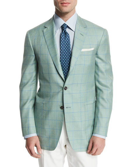 Windowpane Wool-Blend Sport Coat, Light Green/Blue