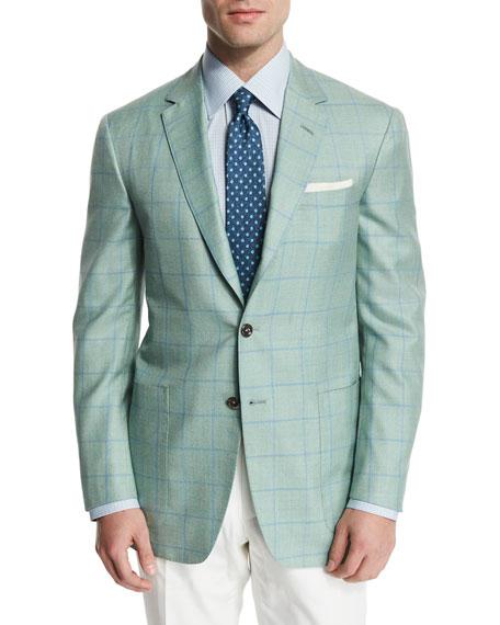 Windowpane Wool-Blend Sport Coat, Light Green/Blue