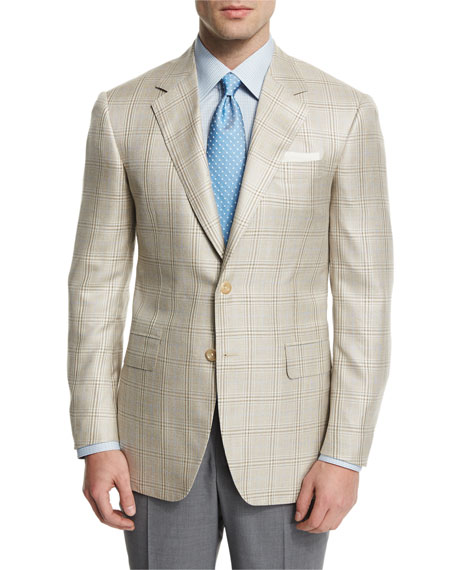 Oxxford Plaid Two-Button Wool-Blend Sport Coat, Tan