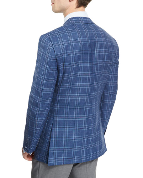 Plaid Two-Button Sport Coat, Blue