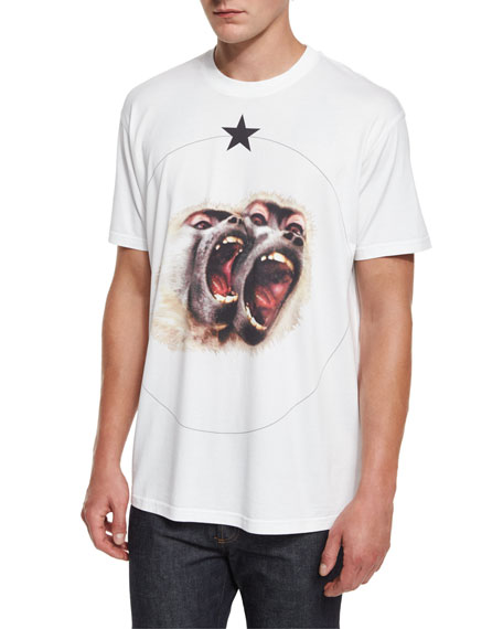 Givenchy Colombian Fit Monkey Brothers T Shirt White