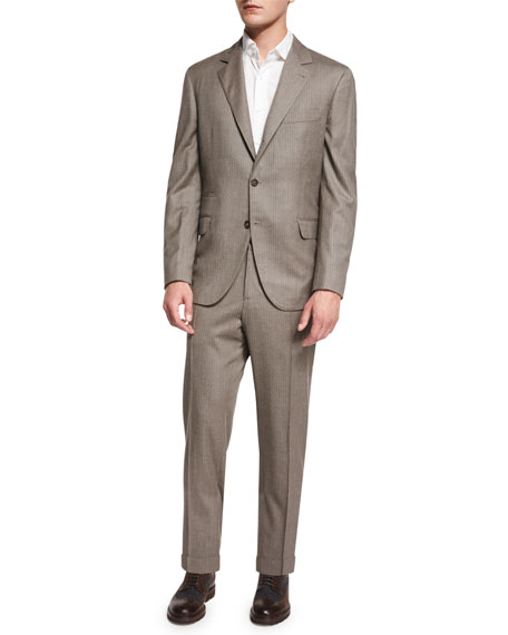 Brunello Cucinelli Traditional Two-Piece Suit, Brown