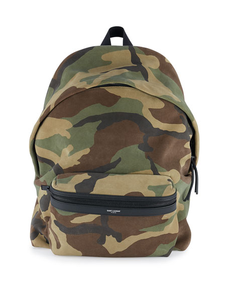 Saint Laurent Men's Camo-Print Suede Backpack, Green