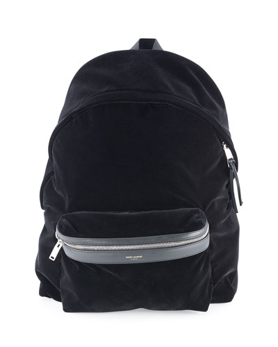 Velvet Backpack w/ Leather Trim, Black