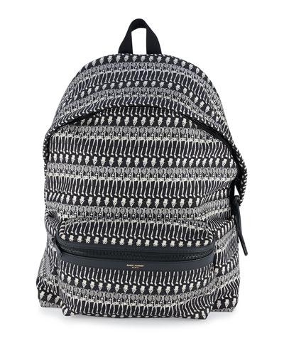 Men's Skeleton-Print Leather Backpack, Black/White