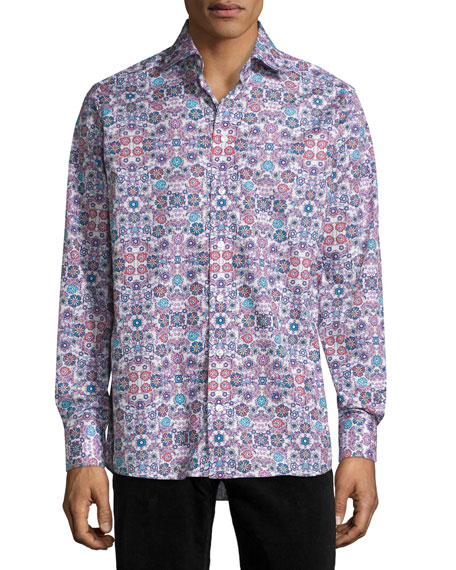Eton Floral-Print Sport Shirt, Multi