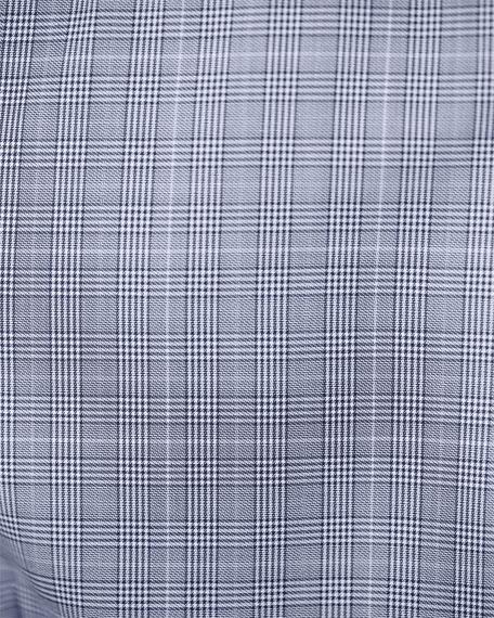 Eton Glen-Plaid Long-Sleeve Sport Shirt, White/Black