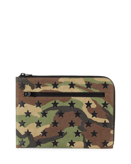 Saint Laurent Men's Camo Pouch Bag w/Star Appliqués,