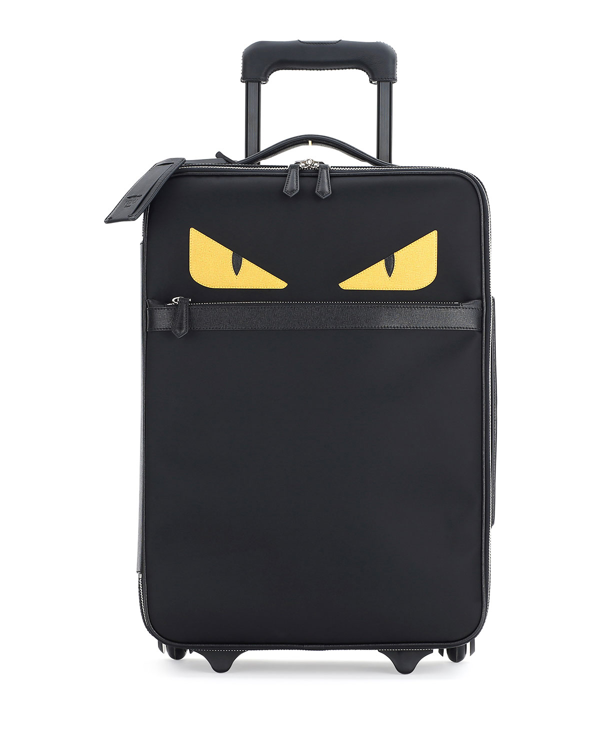 31b279d82b7 Fendi Monster Eyes Canvas & Leather Trolley Suitcase, Black | Neiman ...