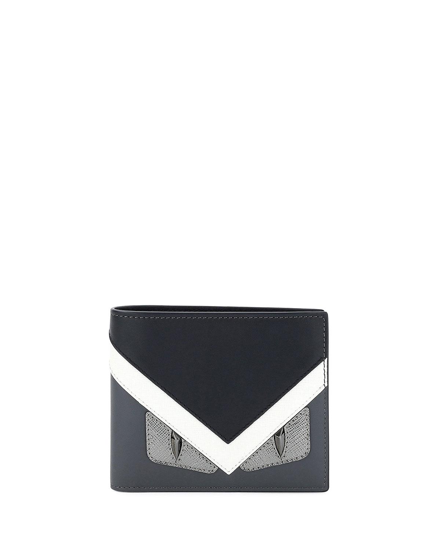 7dfcd914aa Fendi Monster Eyes Leather Bi-Fold Wallet, Graphite   Neiman Marcus