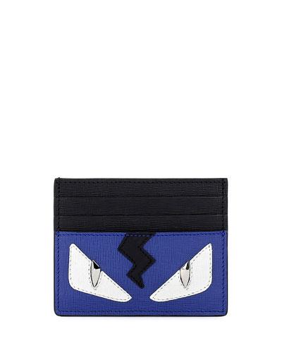 Monster Eyes Leather Card Case, Blue/Black