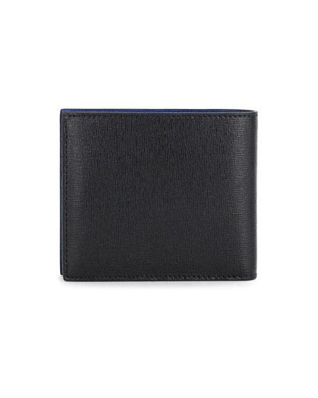 Karlito Bi-Fold Leather Wallet w/Mink Fur Details, Black