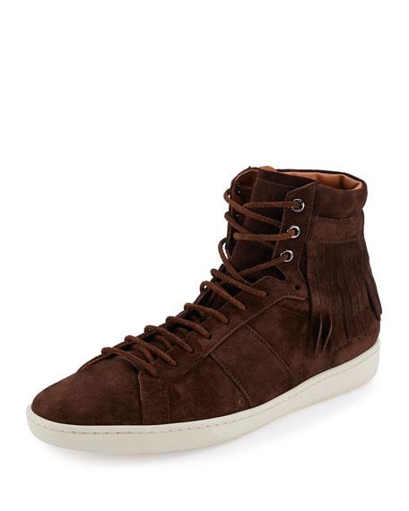 Fringe-Detail Suede High-Top Sneaker, Brown