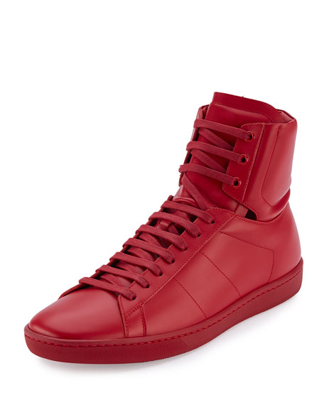 Men's Leather High-Top Sneakers, Red