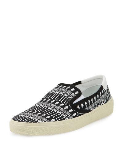 Skeleton-Print Slip-On Sneaker, Black/White