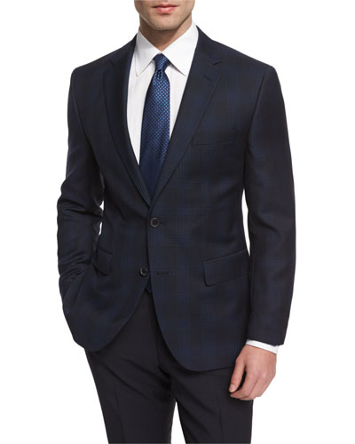 Jeen Large-Plaid Wool Sport Coat, Navy