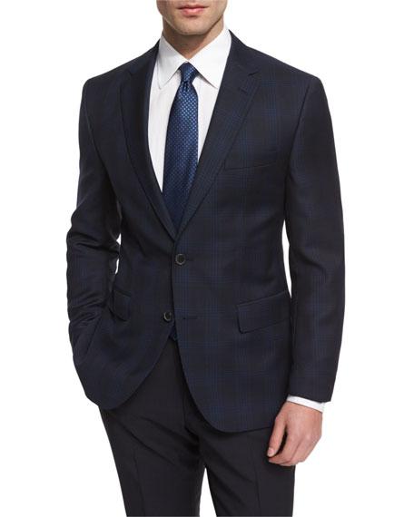 Boss Hugo Boss Jeen Large-Plaid Wool Sport Coat, Navy