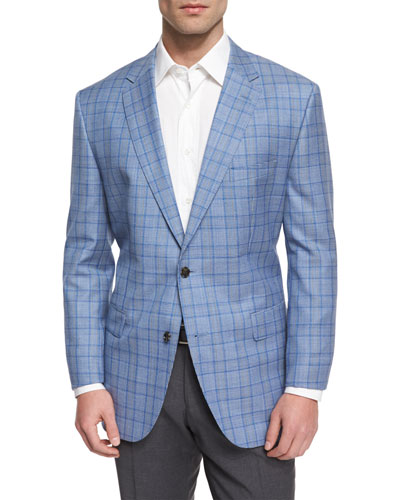 Jeen Plaid Two-Button Wool Sport Coat, Blue