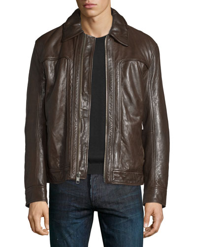 Outpost Leather Bomber Jacket, Espresso