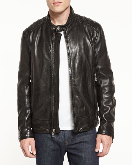 Andrew Marc Boarder Leather Moto Jacket, Jet Black
