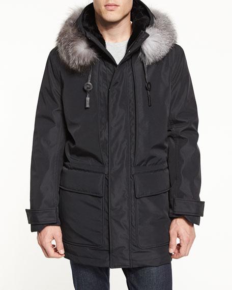 Andrew Marc Everest Fur-Trim Hooded Parka, Jet Black