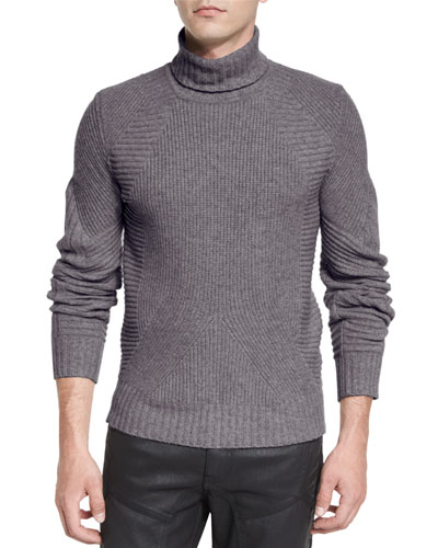 Litlehurst Mixed-Knit Turtleneck Sweater