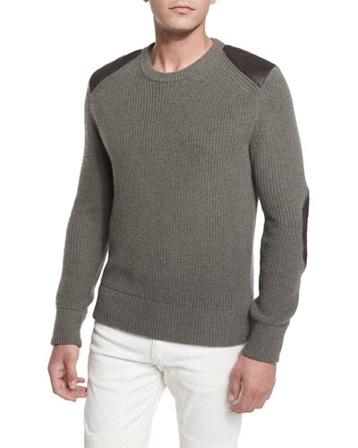 Parry Leather-Trim Ribbed Wool Sweater