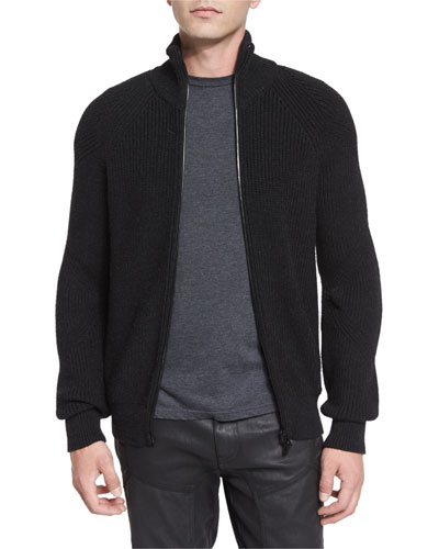 Harleston Zip-Up Ribbed Wool Sweater, Charcoal Melange
