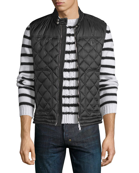 Moncler Rod Quilted Nylon Moto Vest, Black | Neiman Marcus : quilted vests for men - Adamdwight.com