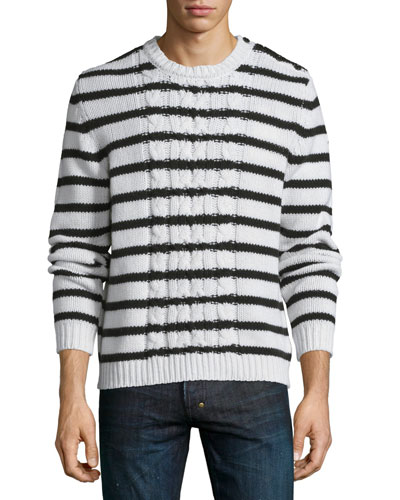 Cable-Knit Striped Long-Sleeve Sweater, Ivory