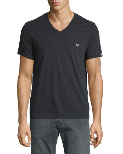 V-Neck Short-Sleeve Logo Tee, Black