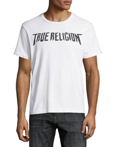 Logo & Skull-Print Short-Sleeve Graphic T-Shirt, White