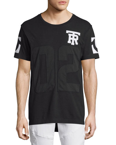 Mesh Football Elongated T-Shirt, Black