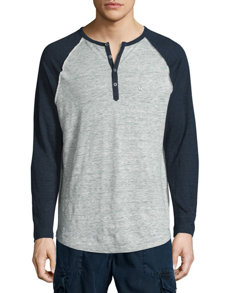 True Religion Colorblock Raglan-Sleeve Linen Henley T-Shirt,