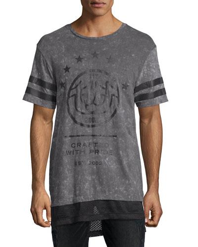 Elongated T-Shirt w/Mesh Insets, Concrete