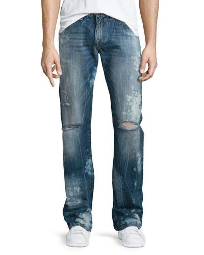 Geno Distressed Straight-Leg Jeans, Indigo Anthem