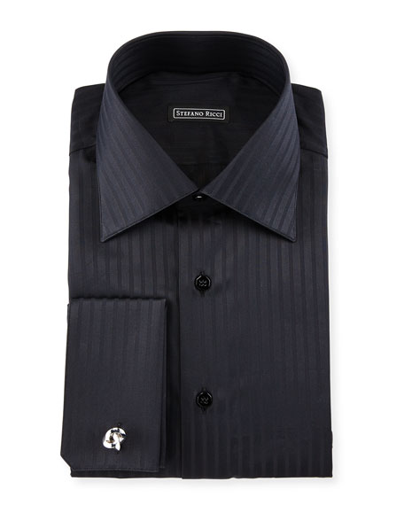 stefano ricci tonal striped french cuff dress shirt black