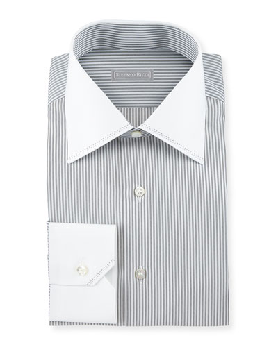 Contrast-Collar Striped Dress Shirt, White/Black