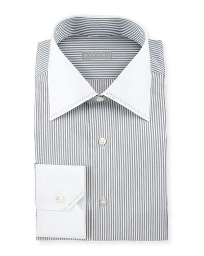 Contrast-Collar Striped Dress Shirt, White/Black