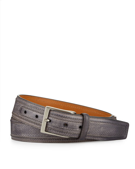 Perforated Leather Belt, Gray