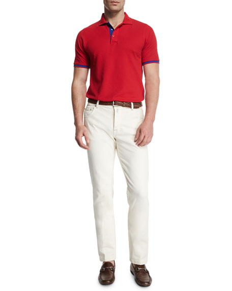 Tennis Court Five-Pocket Twill Pants, White