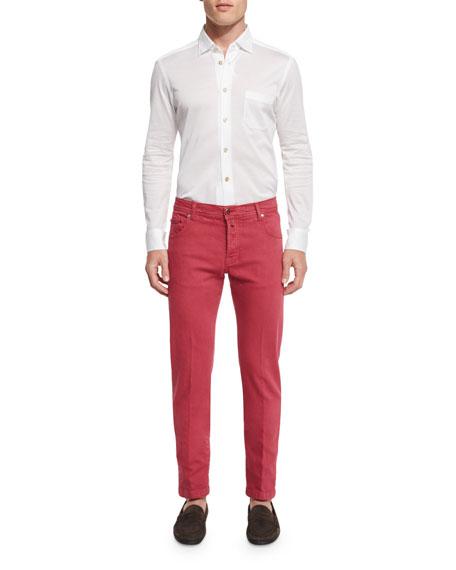 Twill Five-Pocket Pants, Watermelon Red