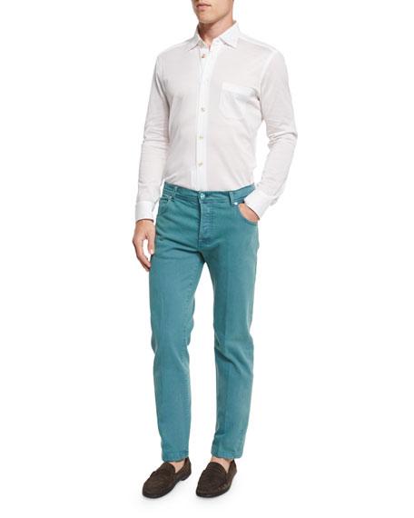 Twill Five-Pocket Pants, Seafoam Green